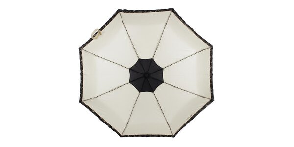 Dámsky béžový skladací dáždnik s čiernymi ružičkami Ferré Milano