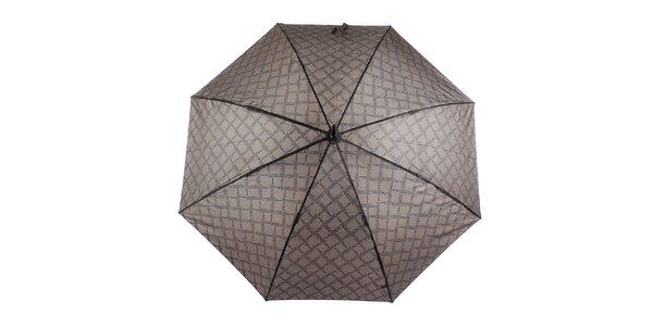 Pánsky hnedý vystreľovací dáždnik so vzorom Ferré Milano