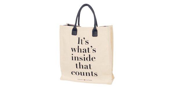 Dámska béžová taška s nápisom Tommy Hilfiger