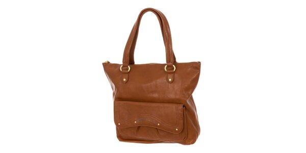 Dámska hnedá kabelka s vonkajším vreckom Tommy Hifliger
