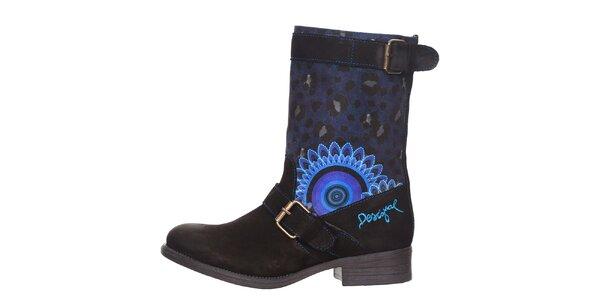 Dámske modro-čierne topánky s leopardím a kvetinovým vzorom Desigual