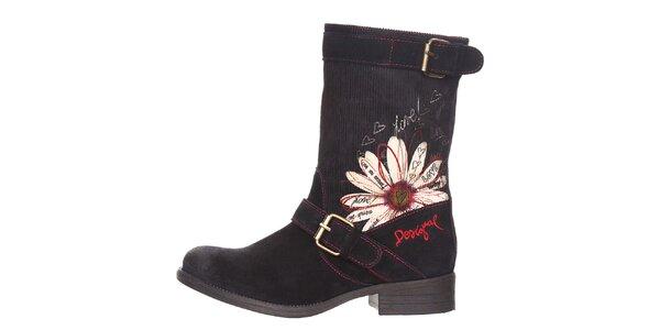 Dámske čierne topánky s kvetinovým vzorom Desigual