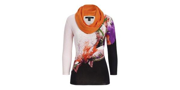 Dámsky oranžovo vzorovaný svetrík so šatkou Imagini