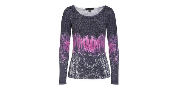 Dámsky čierny sveter s ružovou potlačou a kamienkami Imagini
