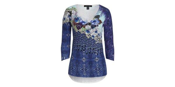 Dámsky modrý sveter s farebným vzorom Imagini