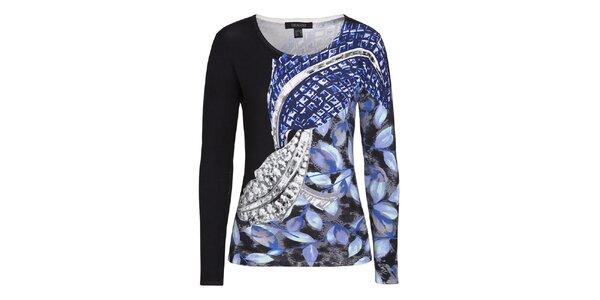 Dámsky čierny sveter s fuchsiovým vzorom Imagini