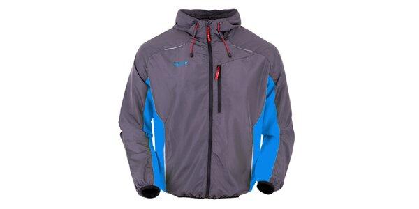 Šedá běžecká bunda s modrými prvkami Izas