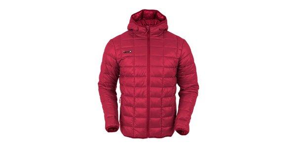 Pánska červená prešívaná bunda s červeným zipsom Izas