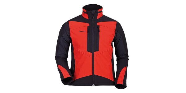 Pánska oranžovo-čierna softshellová bunda Izas