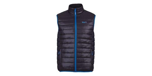 Pánska čierna prešívaná vesta s modrými prvkami Izas