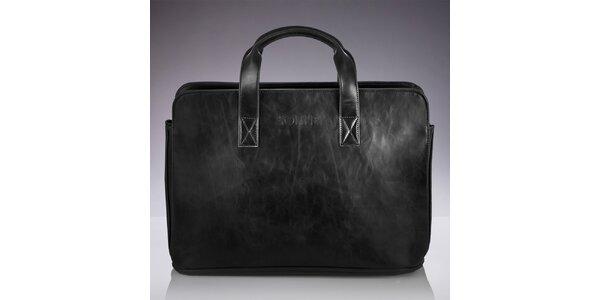 Pánska čierna taška s popruhom a žíhaním Solier