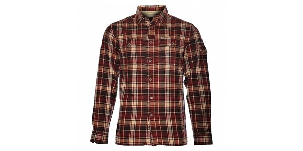 Pánska vínová kockovaná flanelová košeľa Bushman