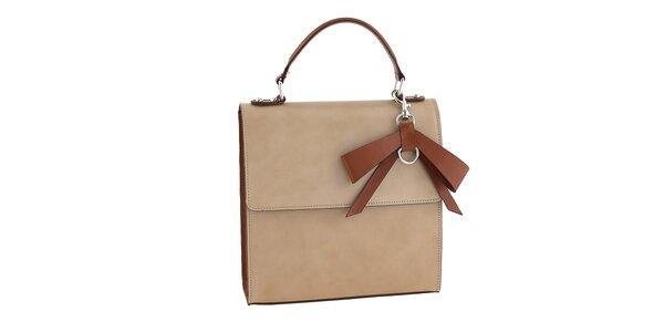 Dámska béžová kabelka s tmavo oranžovou mašľou Tina Panicucci