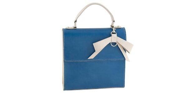 Dámska modrá kabelka s béžovou mašľou Tina Panicucci