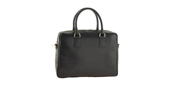 Dámska čierna kožená kabelka obdĺžnikového tvaru Tina Panicucci