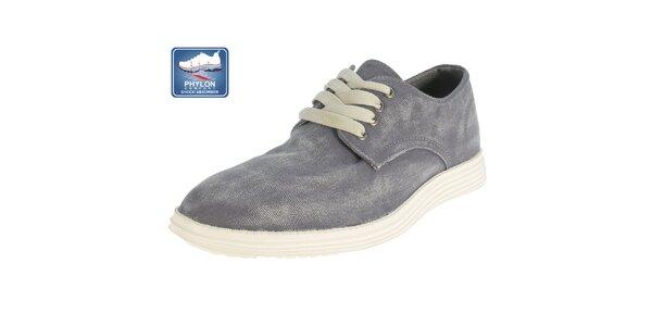 Pánske šedé šnúrovacie topánky Beppi