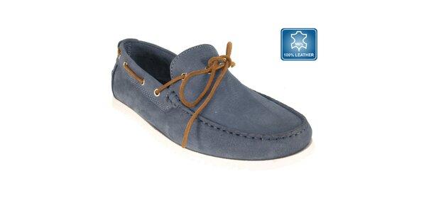 Pánske modré námornícke mokasíny z kože Beppi