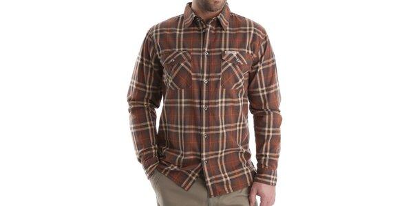 Pánska hnedá károvaná košeľa Bushman
