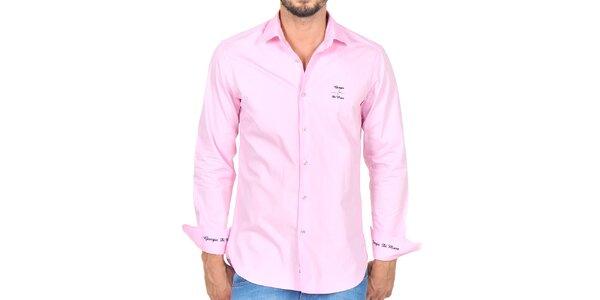 Pánska svetlo ružová košeľa s výšivkami Giorgio di Mare
