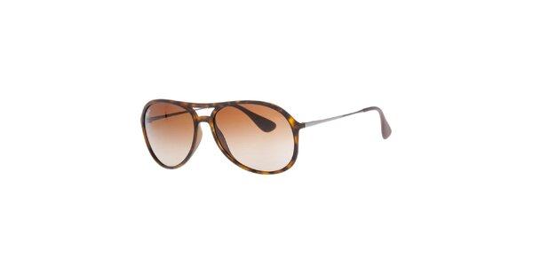 Hnede žíhané slnečné okuliare s púzdrom Ray-Ban