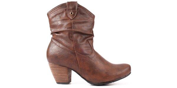 Dámske tmavo hnedé topánky na zips Spot on