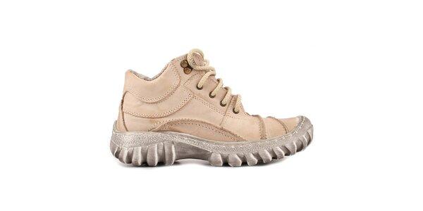 Dámske béžové topánky s kožúškom Marcello