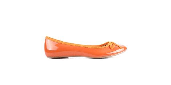 Dámske oranžové balerínky Derhy - kožené