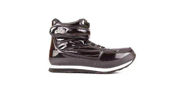 Dámske čierne lesklé topánky Elite