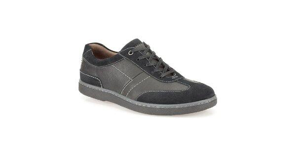 Pánske čierne topánky s bielym prešívaním Clarks