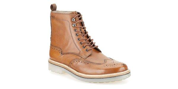 Pánske koňakovo hnedé topánky Clarks