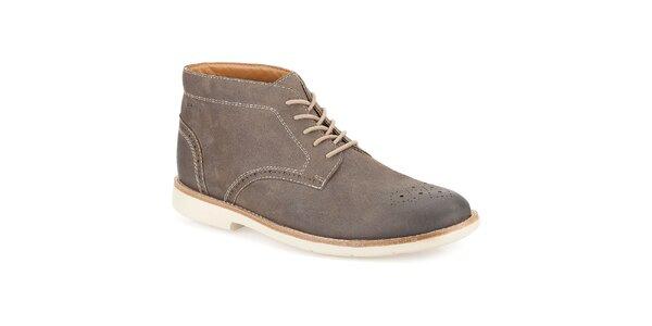 Pánske šedé semišové členkové topánky so šnurovaním Clarks