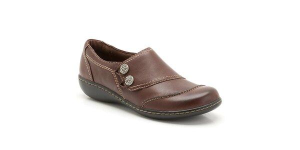 Dámske hnedé kožené topánky s prešívaním Clarks