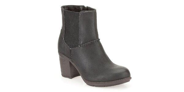 Dámske čierne členkové topánky s elastickou bočnou vsadkou Clarks