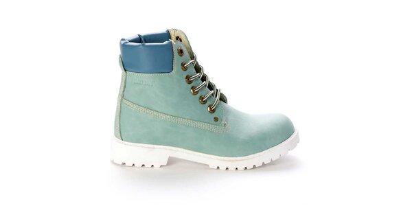 Dámske šnúrovacie členkové topánky vo svetlo modrej farbe Destroy