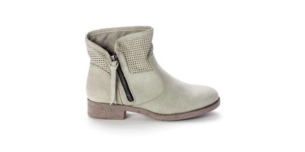 Dámske svetlo béžové členkové topánky s perforovaním Destroy