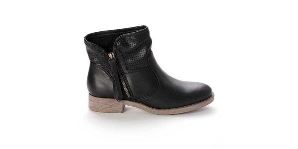 Dámske čierne členkové topánky s perforovaním Destroy