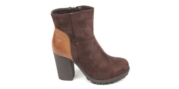 Dámske hnedé topánky s pevným opätkom Destroy