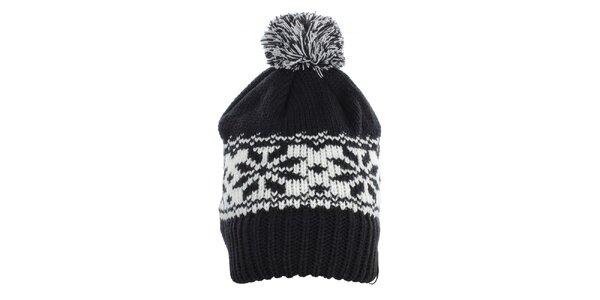 Dámska čierna čiapka s bielym vzorom Fundango