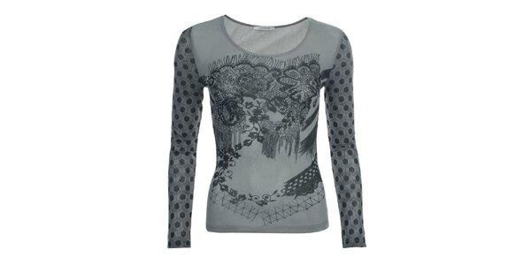 Dámske šedé tričko so vzorovanými rukávmi Angels Never Die
