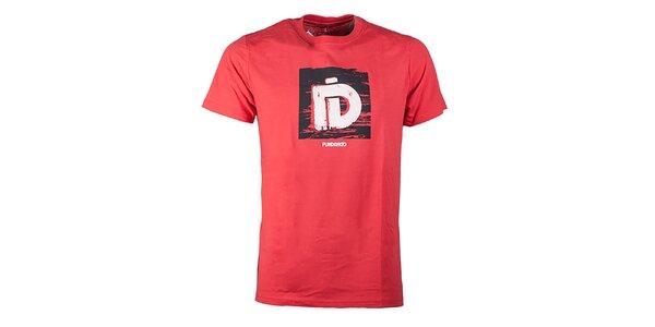 Pánske červenooranžové tričko s potlačou Fundango