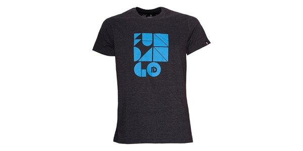 Pánske čierne tričko s potlačou Fundango