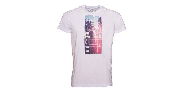 Pánske biele tričko s farebnou potlačou Fundango
