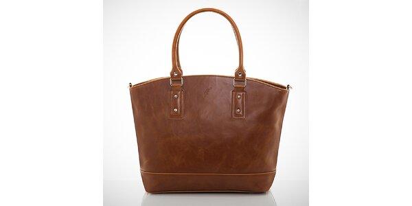 Dámska hnedá kabelka s jemným žíhaním Felice