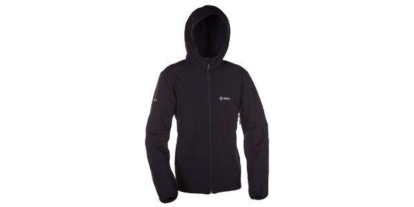 Pánska čierna softshellová bunda s kapucňou Kilpi