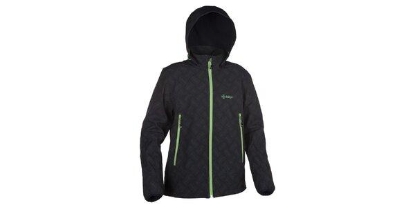 Pánska softshellová bunda s kapucňou so zelenými prvkami Kilpi
