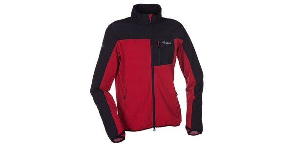 Pánska červeno-čierna softshellová bunda s golierom Kilpi