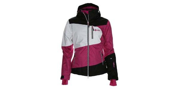 Dámska ružovo-bielo-čierna bunda na snowboard Kilpi