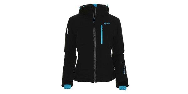 Dámska čierna lyžiarska bunda s tyrkysovými detailmi Kilpi