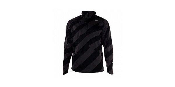 Pánska čierno-šedé tričko s dlhým rukávom Nike