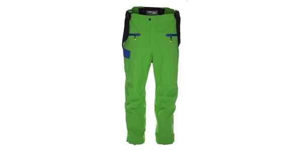Pánske zelené lyžiarske nohavice s modrými detailmi Kilpi